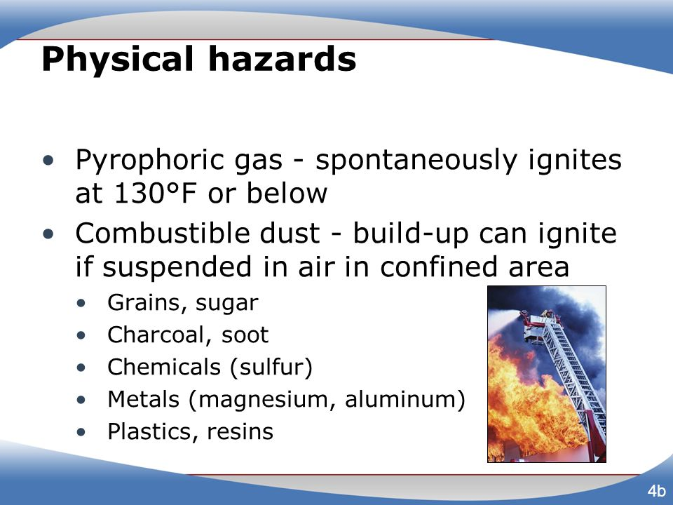 Physical hazards Pyrophoric gas - spontaneously ignites at 130°F or below Combustible dust - build-up can ignite if suspended in air in confined area