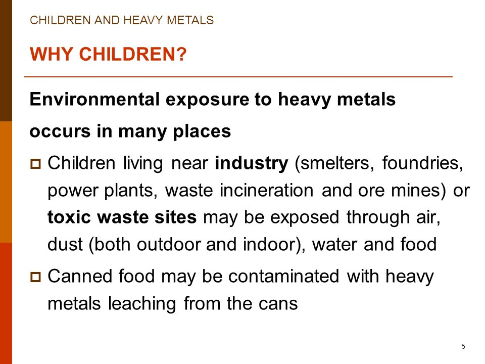 CHILDREN AND HEAVY METALS 5 WHY CHILDREN? Environmental exposure to heavy metals occurs in many places  Children living near industry (smelters, foun