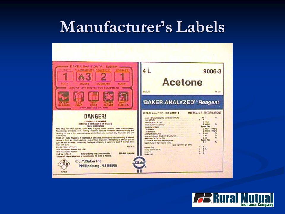 Manufacturer's Labels