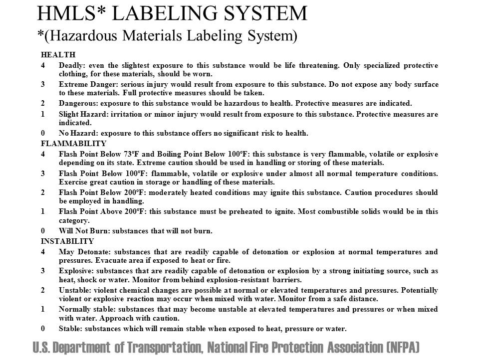 HMLS* LABELING SYSTEM *(Hazardous Materials Labeling System) HEALTH 4 Deadly: even the slightest exposure to this substance would be life threatening.