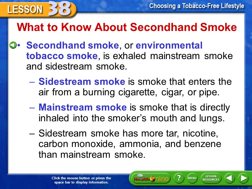 Click the mouse button or press the space bar to display information. Secondhand Smoke If you are in a room in which other people are smoking, you wil