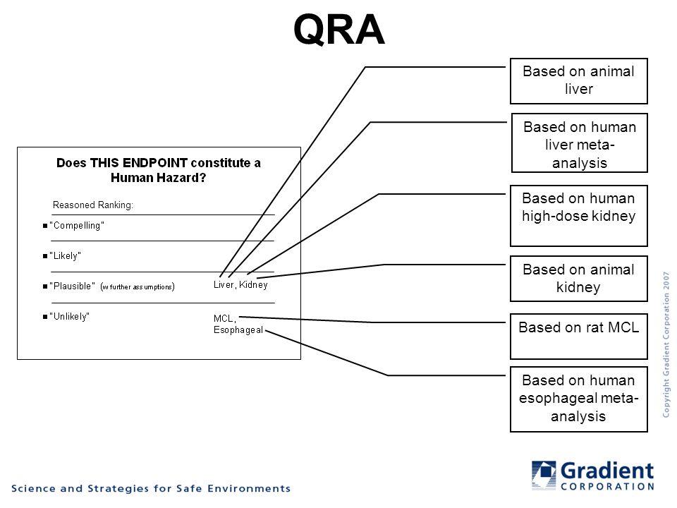 QRA Based on animal liver Based on human liver meta- analysis Based on human high-dose kidney Based on animal kidney Based on rat MCL Based on human esophageal meta- analysis Reasoned Ranking: