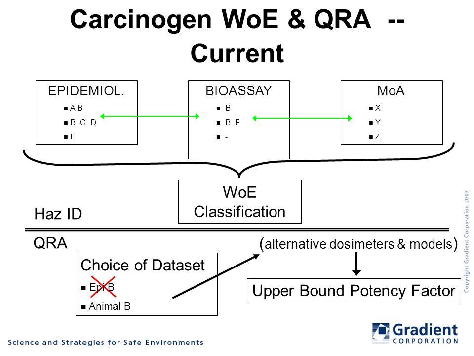 Carcinogen WoE & QRA -- Current EPIDEMIOL.