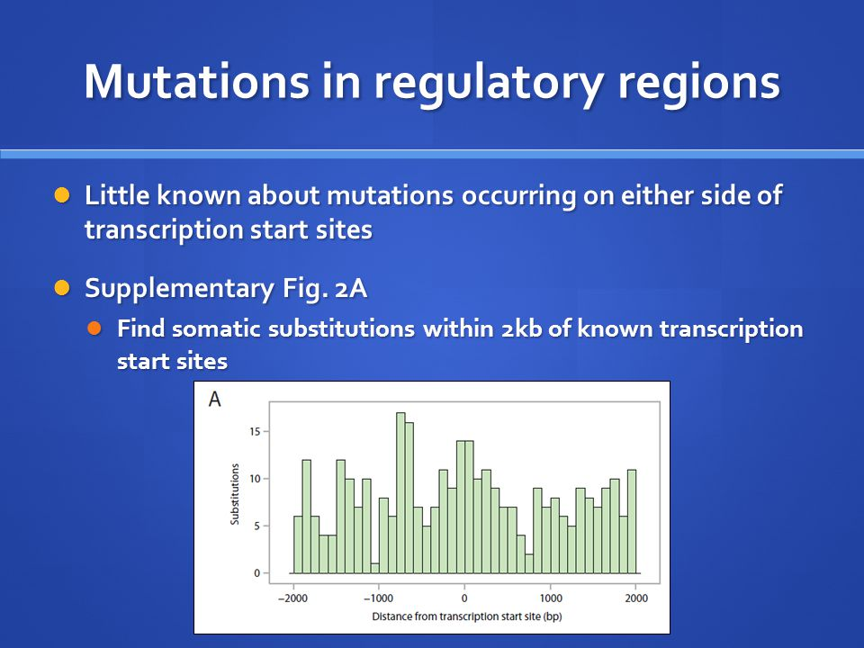 Mutations in regulatory regions Little known about mutations occurring on either side of transcription start sites Little known about mutations occurring on either side of transcription start sites Supplementary Fig.