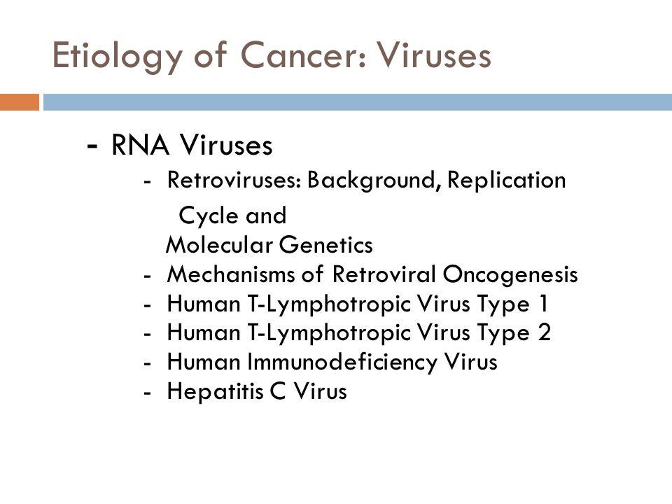 Etiology of Cancer: Viruses - RNA Viruses - Retroviruses: Background, Replication Cycle and Molecular Genetics - Mechanisms of Retroviral Oncogenesis