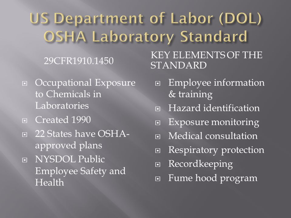29CFR1910.1450 KEY ELEMENTS OF THE STANDARD  Occupational Exposure to Chemicals in Laboratories  Created 1990  22 States have OSHA- approved plans  NYSDOL Public Employee Safety and Health  Employee information & training  Hazard identification  Exposure monitoring  Medical consultation  Respiratory protection  Recordkeeping  Fume hood program