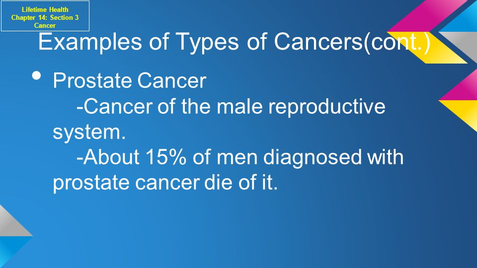Examples of Types of Cancers(cont.) Prostate Cancer -Cancer of the male reproductive system.