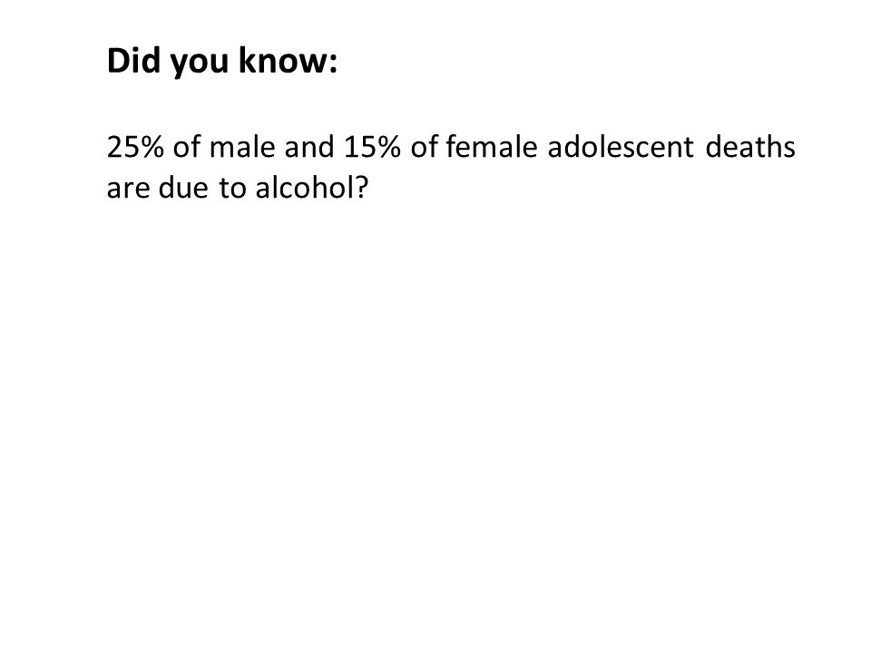 25% of male and 15% of female adolescent deaths are due to alcohol Did you know: