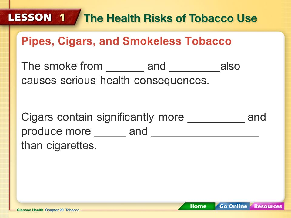 Pipes, Cigars, and Smokeless Tobacco Cigarette filters do not protect smokers from more than 50 carcinogens, including ________ and _________ which ar