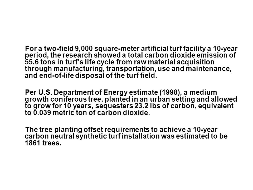 For a two-field 9,000 square-meter artificial turf facility a 10-year period, the research showed a total carbon dioxide emission of 55.6 tons in turf's life cycle from raw material acquisition through manufacturing, transportation, use and maintenance, and end-of-life disposal of the turf field.