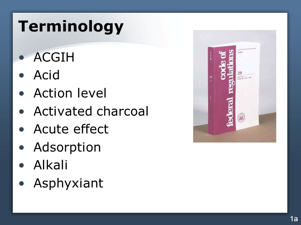 Terminology ACGIH Acid Action level Activated charcoal Acute effect Adsorption Alkali Asphyxiant 1a