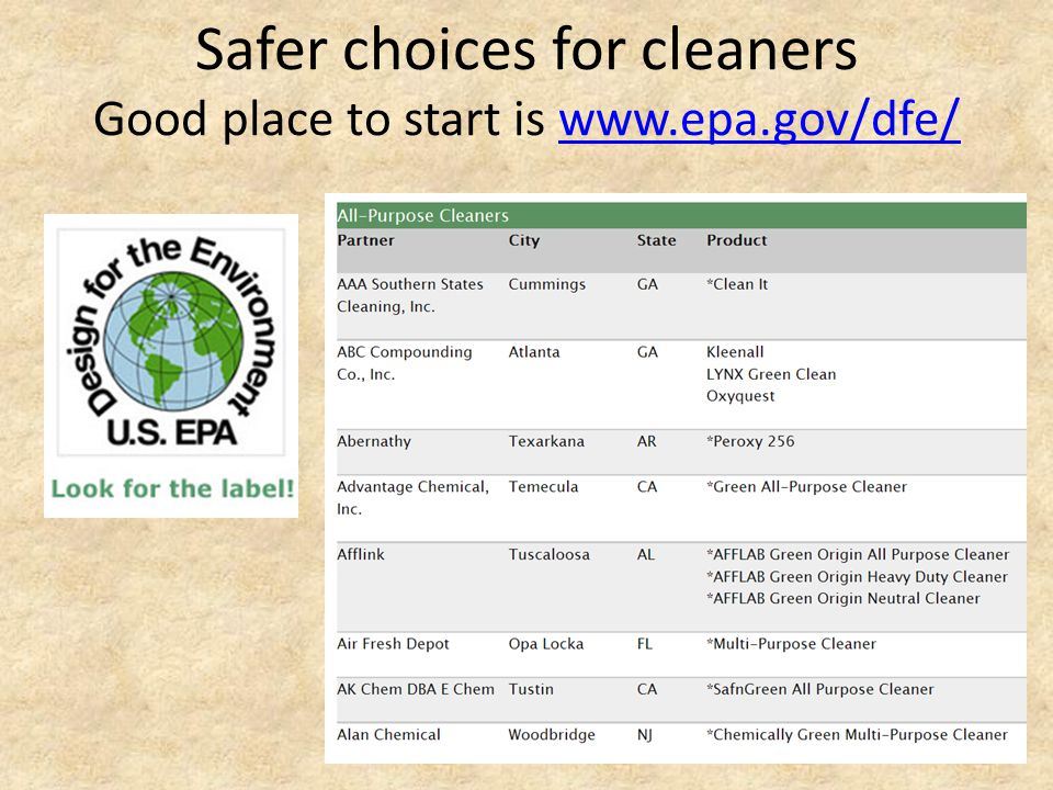 Safer choices for cleaners Good place to start is www.epa.gov/dfe/www.epa.gov/dfe/