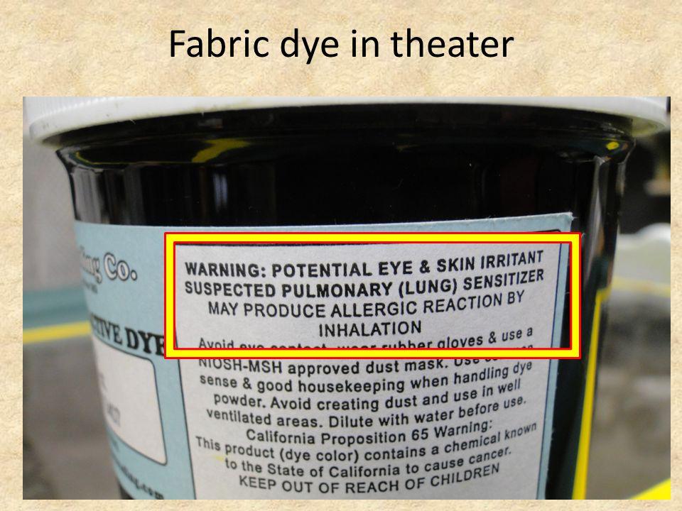 Fabric dye in theater