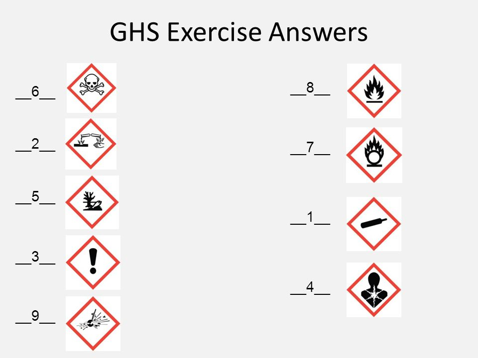 GHS Exercise Answers __6__ __2__ __5__ __3__ __9__ __8__ __7__ __1__ __4__