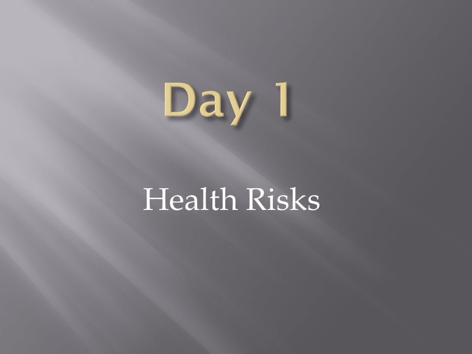 Health Risks- Day 1 Choosing to live Tobacco Free-Day 2 Promoting a Smoke-Free Environment- Day 3 Review- Day 4 Test- Day 5