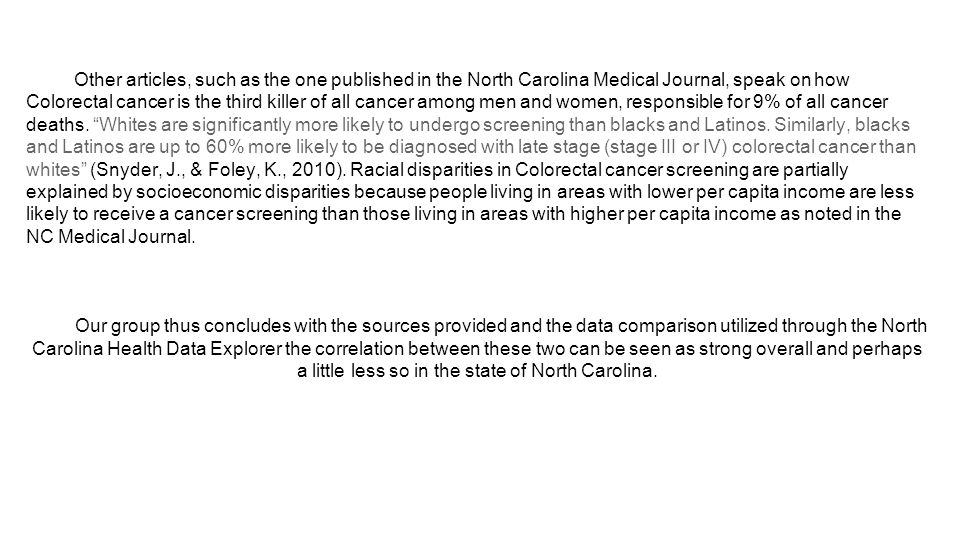Sources North Carolina Health Data Explorer Lichtenfeld, L.
