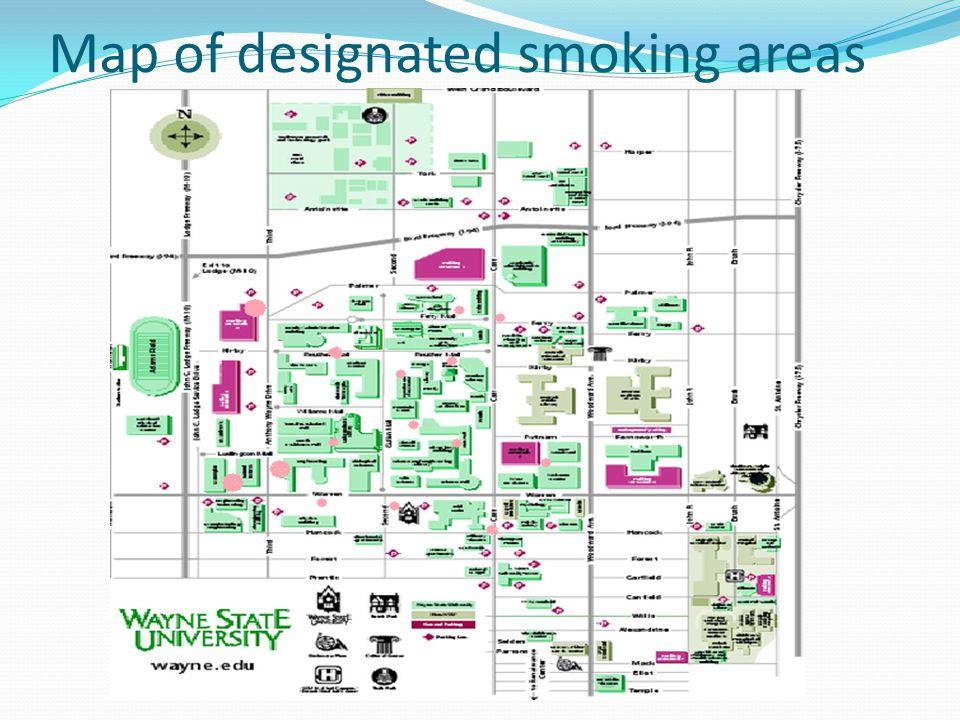 Map of designated smoking areas