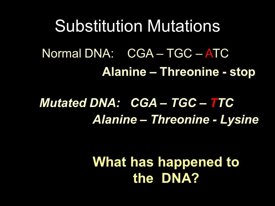 What will happen to the amino acids? Substitution Mutations Normal DNA: CGA – TGC – ATC Mutated DNA: CGA – TGC – TTC Alanine – Threonine - stop Alanin