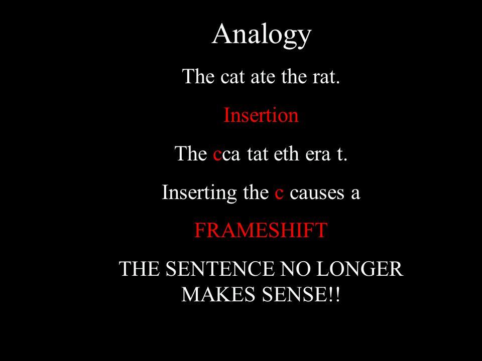 Analogy The cat ate the rat. Insertion The cca tat eth era t. Inserting the c causes a FRAMESHIFT THE SENTENCE NO LONGER MAKES SENSE!!
