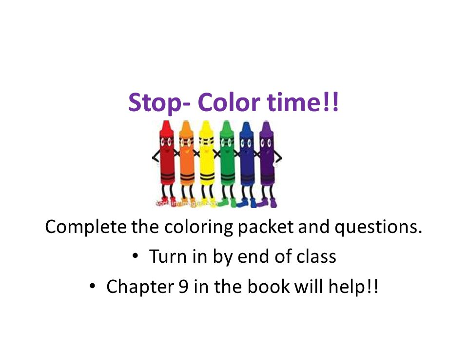 Stop- Color time!. Complete the coloring packet and questions.
