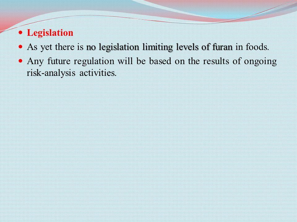 Legislation no legislation limiting levels of furan As yet there is no legislation limiting levels of furan in foods.