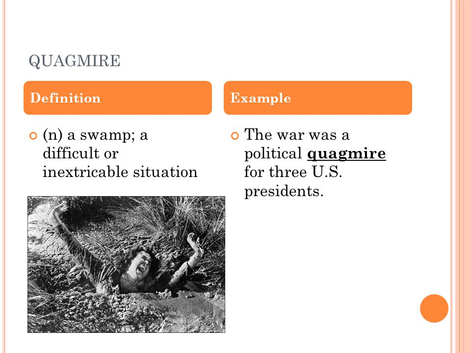 QUAGMIRE (n) a swamp; a difficult or inextricable situation The war was a political quagmire for three U.S.