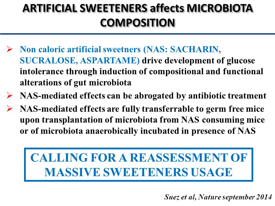  Non caloric artificial sweetners (NAS: SACHARIN, SUCRALOSE, ASPARTAME) drive development of glucose intolerance through induction of compositional and functional alterations of gut microbiota  NAS-mediated effects can be abrogated by antibiotic treatment  NAS-mediated effects are fully transferrable to germ free mice upon transplantation of microbiota from NAS consuming mice or of microbiota anaerobically incubated in presence of NAS ARTIFICIAL SWEETENERS affects MICROBIOTA COMPOSITION Suez et al, Nature september 2014 CALLING FOR A REASSESSMENT OF MASSIVE SWEETENERS USAGE