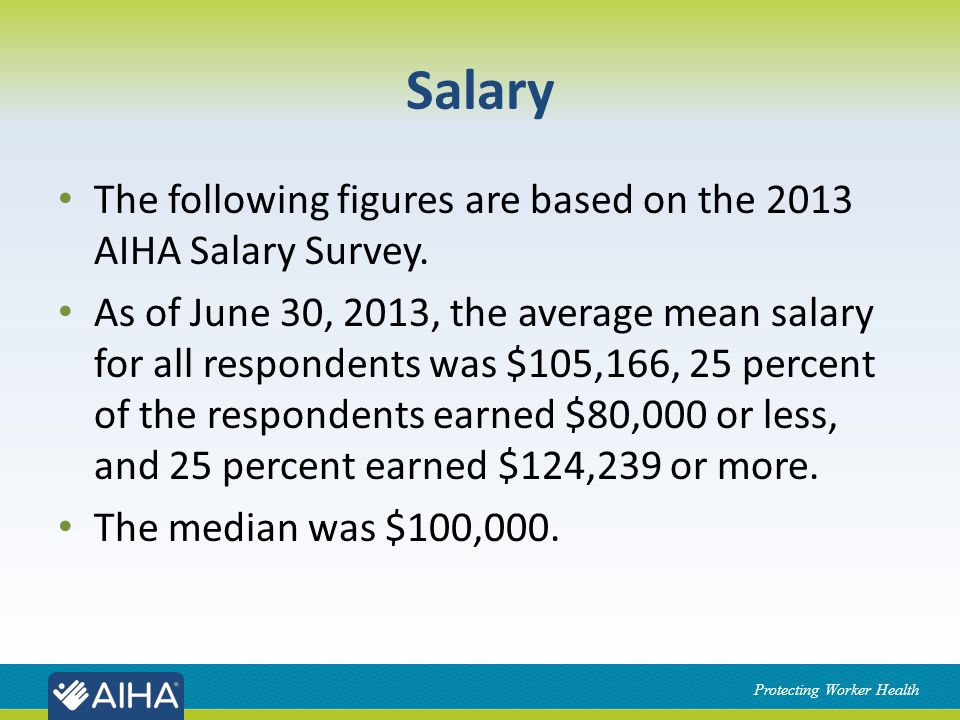 Protecting Worker Health Salary The following figures are based on the 2013 AIHA Salary Survey.