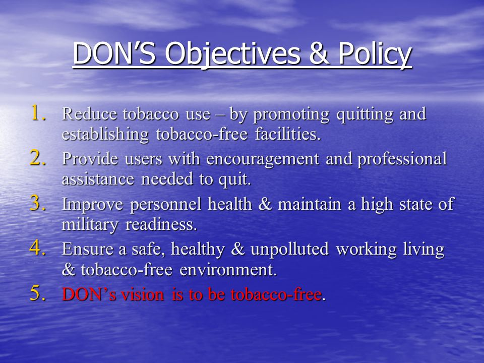 DON'S Objectives & Policy 1.