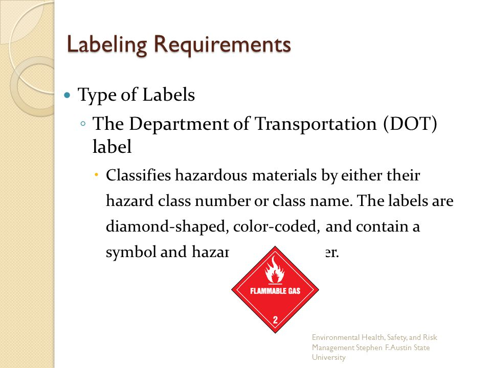 Labeling Requirements Type of Labels ◦ The Department of Transportation (DOT) label  Classifies hazardous materials by either their hazard class number or class name.