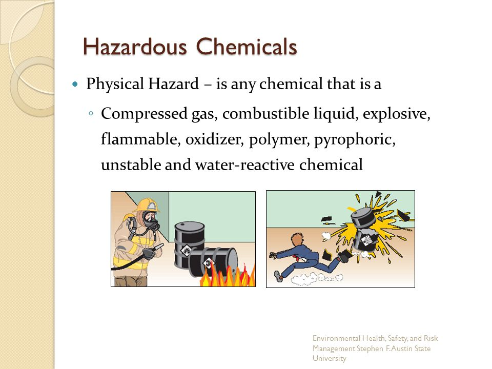 Physical Hazard – is any chemical that is a ◦ Compressed gas, combustible liquid, explosive, flammable, oxidizer, polymer, pyrophoric, unstable and wa