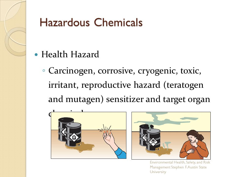 Health Hazard ◦ Carcinogen, corrosive, cryogenic, toxic, irritant, reproductive hazard (teratogen and mutagen) sensitizer and target organ chemical.