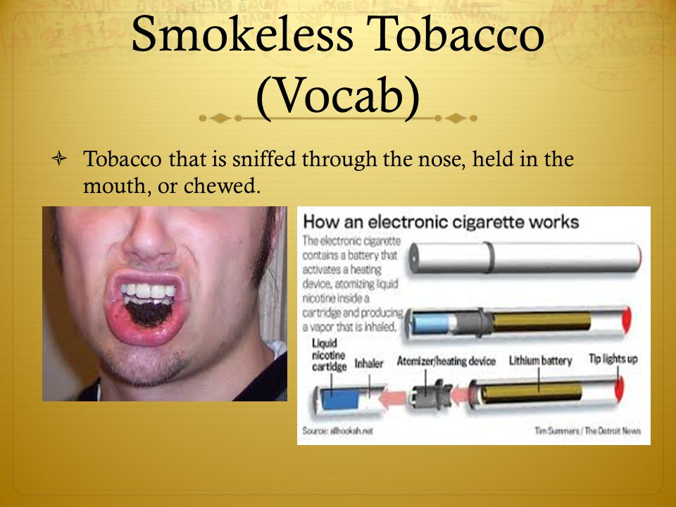 Smokeless Tobacco (Vocab)  Tobacco that is sniffed through the nose, held in the mouth, or chewed.