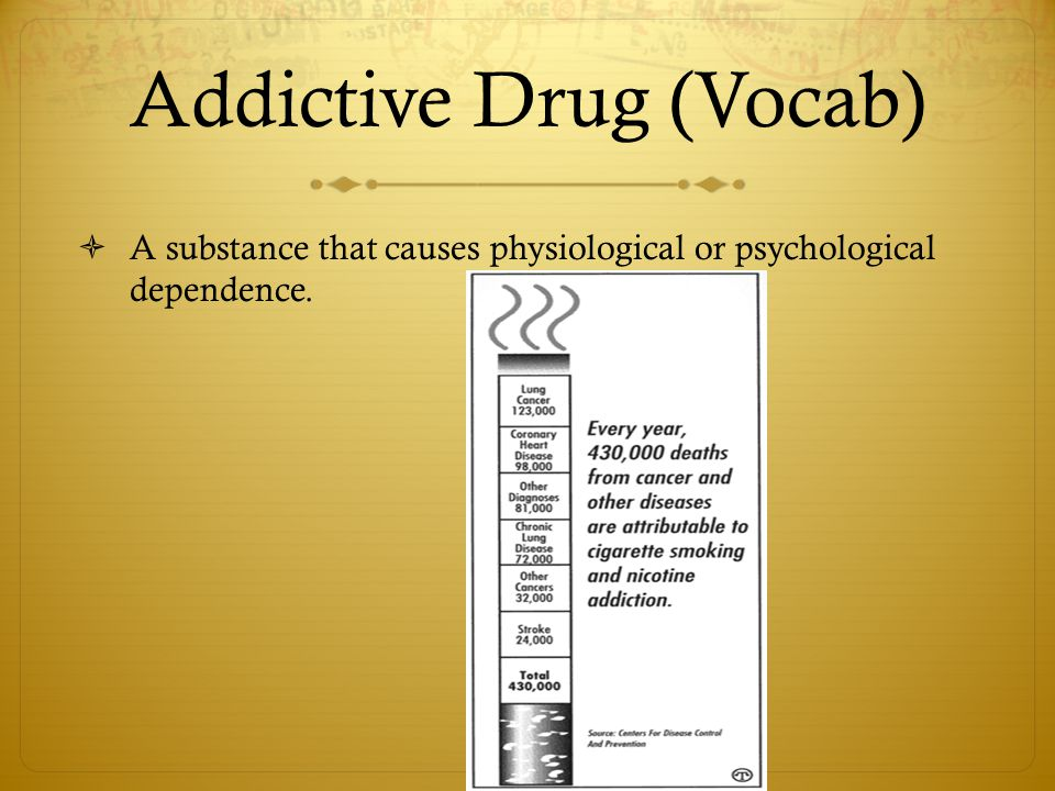 Addictive Drug (Vocab)  A substance that causes physiological or psychological dependence.