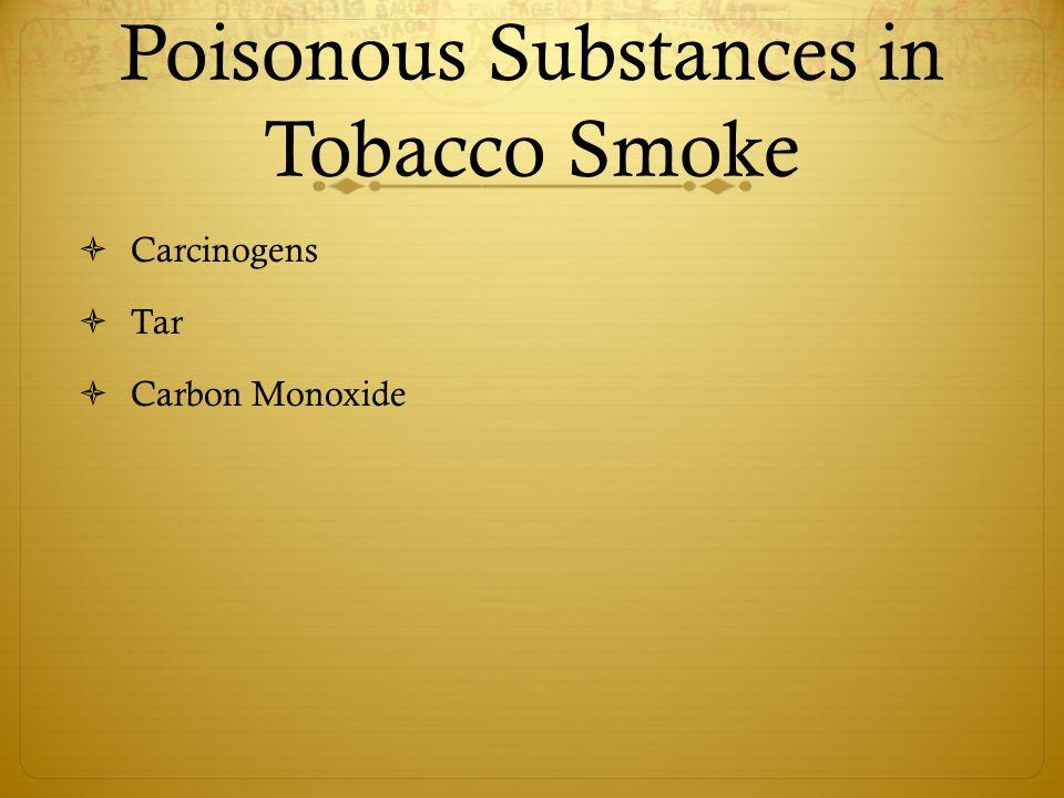 Poisonous Substances in Tobacco Smoke  Carcinogens  Tar  Carbon Monoxide