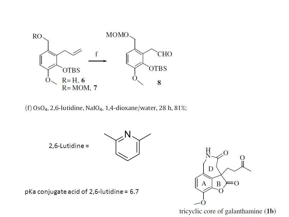 2,6-Lutidine = pKa conjugate acid of 2,6-lutidine = 6.7