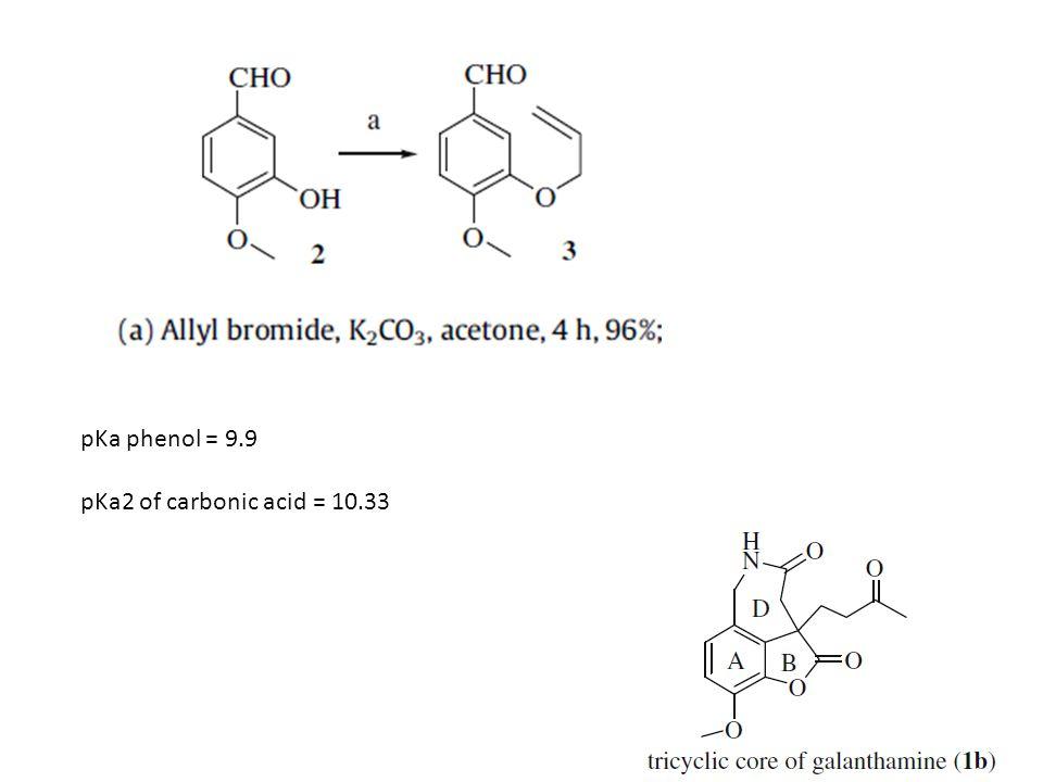 pKa phenol = 9.9 pKa2 of carbonic acid = 10.33