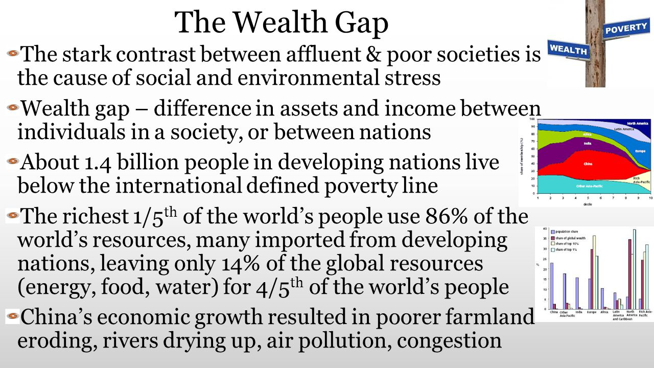 The Wealth Gap The stark contrast between affluent & poor societies is the cause of social and environmental stress Wealth gap – difference in assets