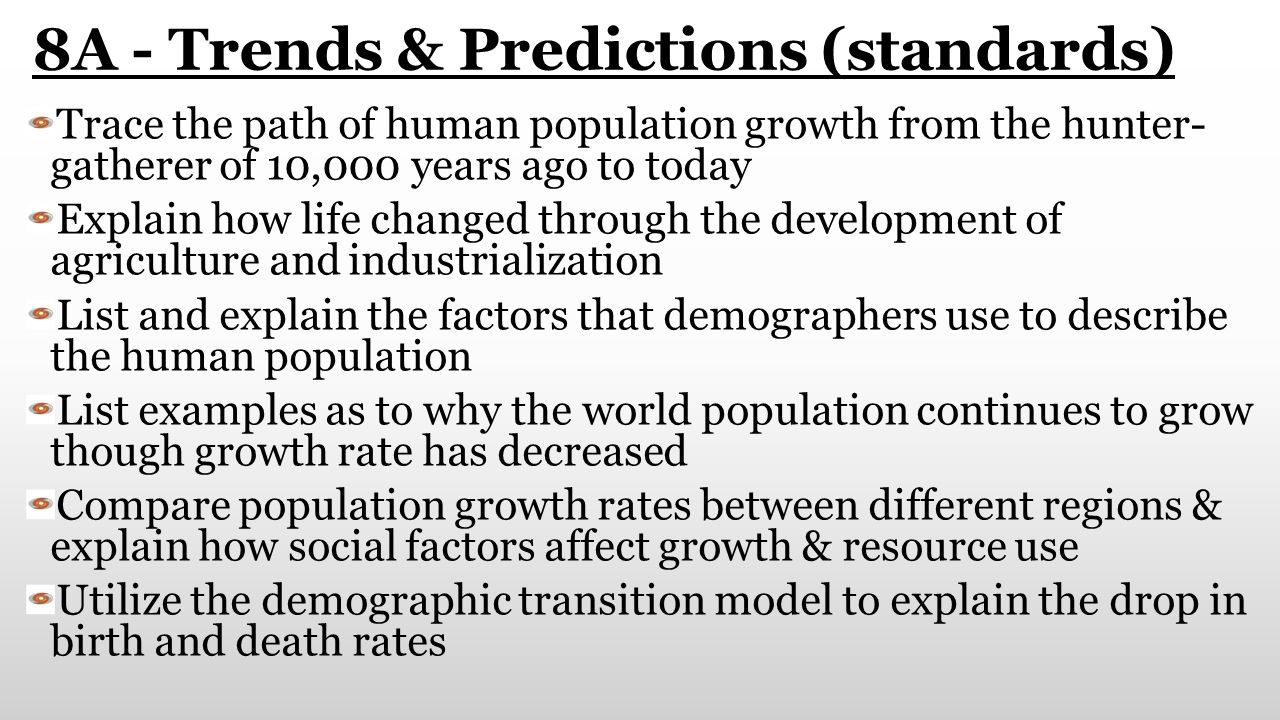 8A - Trends & Predictions (standards) Trace the path of human population growth from the hunter- gatherer of 10,000 years ago to today Explain how lif