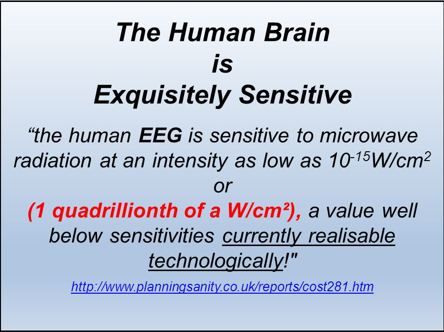 The Human Brain is Exquisitely Sensitive the human EEG is sensitive to microwave radiation at an intensity as low as 10 -15 W/cm 2 or (1 quadrillionth of a W/cm²), a value well below sensitivities currently realisable technologically! http://www.planningsanity.co.uk/reports/cost281.htm