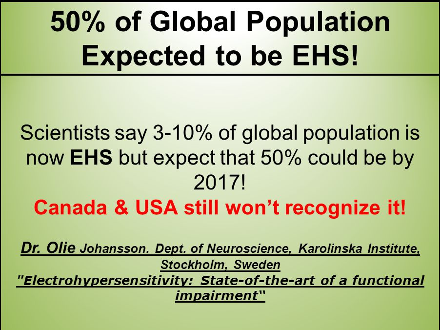 Scientists say 3-10% of global population is now EHS but expect that 50% could be by 2017.