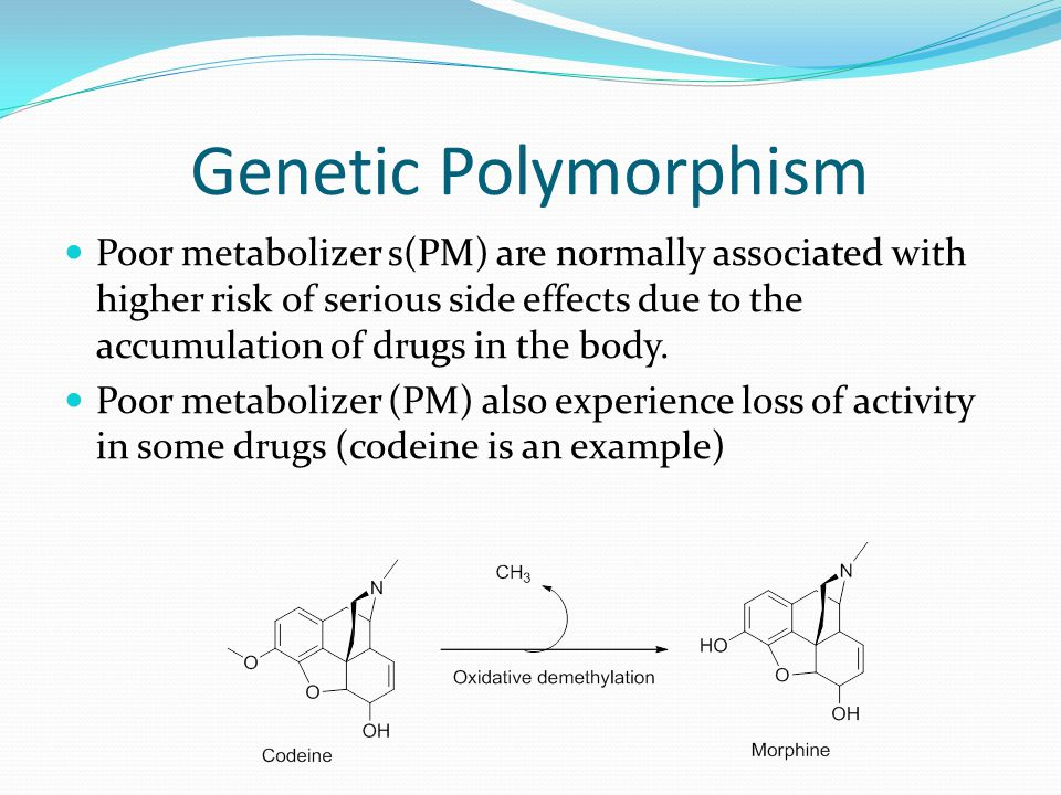Genetic Polymorphism Poor metabolizer s(PM) are normally associated with higher risk of serious side effects due to the accumulation of drugs in the b