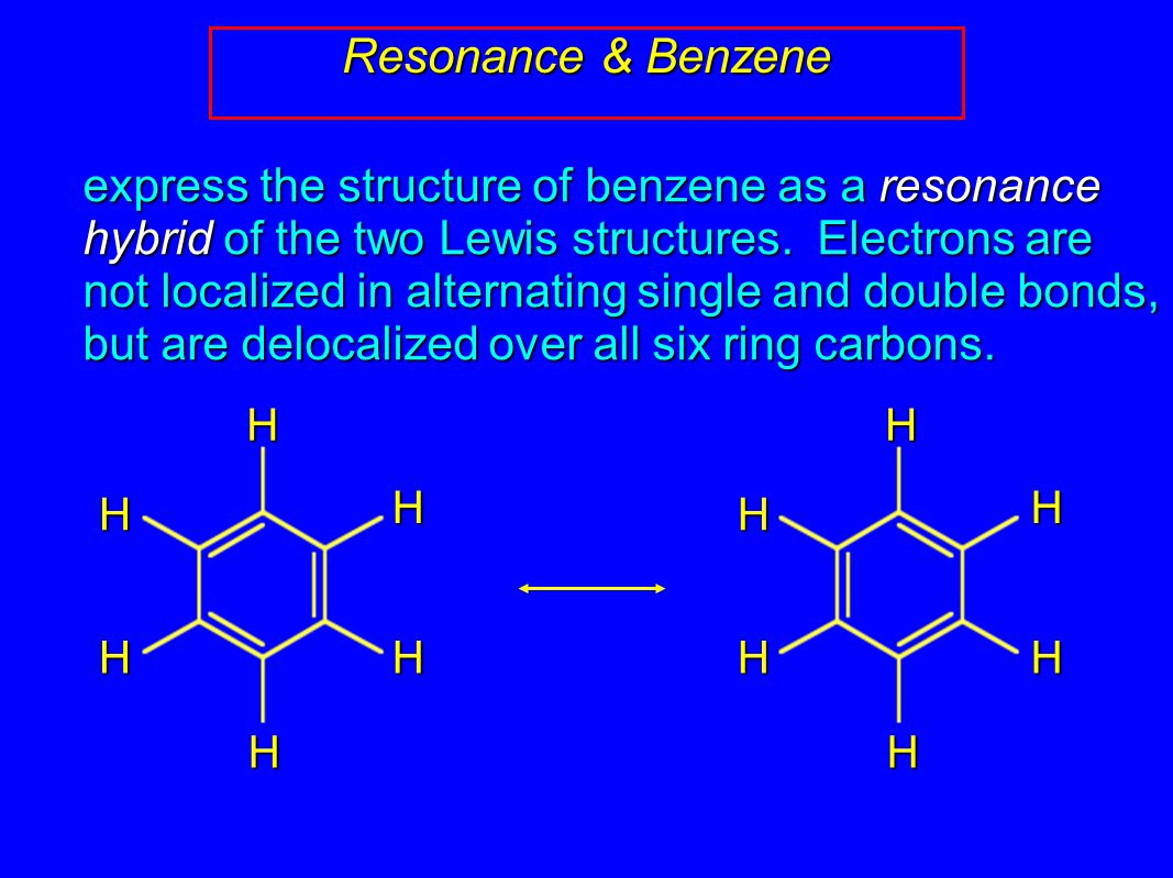 Circle-in-a-ring notation stands for resonance description of benzene (hybrid of two resonance structures) Resonance & Benzene