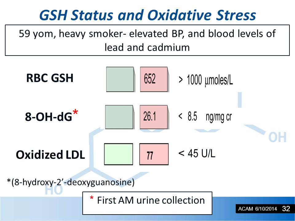 ACAM 6/10/2014 8-OH-dG * GSH Status and Oxidative Stress 1,000 - 2,000 µmoles/L RBC GSH *(8-hydroxy-2'-deoxyguanosine) * First AM urine collection 59