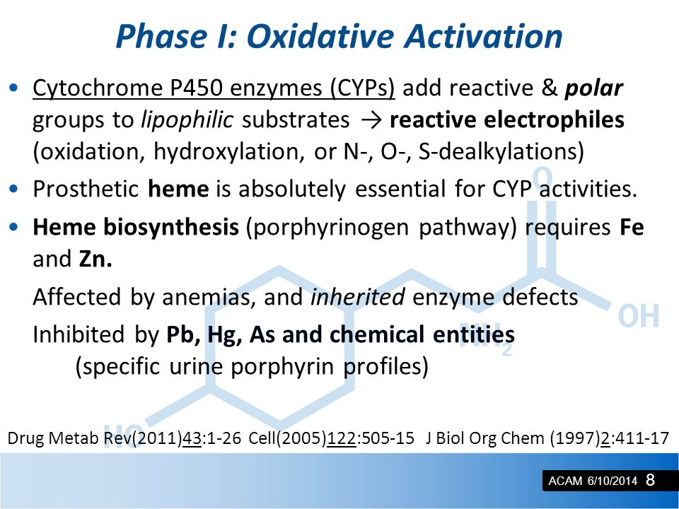 ACAM 6/10/2014 Phase I: Oxidative Activation Cytochrome P450 enzymes (CYPs) add reactive & polar groups to lipophilic substrates → reactive electrophi