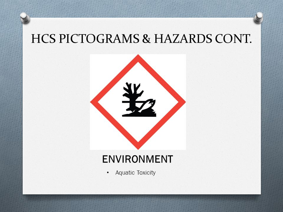 Aquatic Toxicity HCS PICTOGRAMS & HAZARDS CONT. ENVIRONMENT