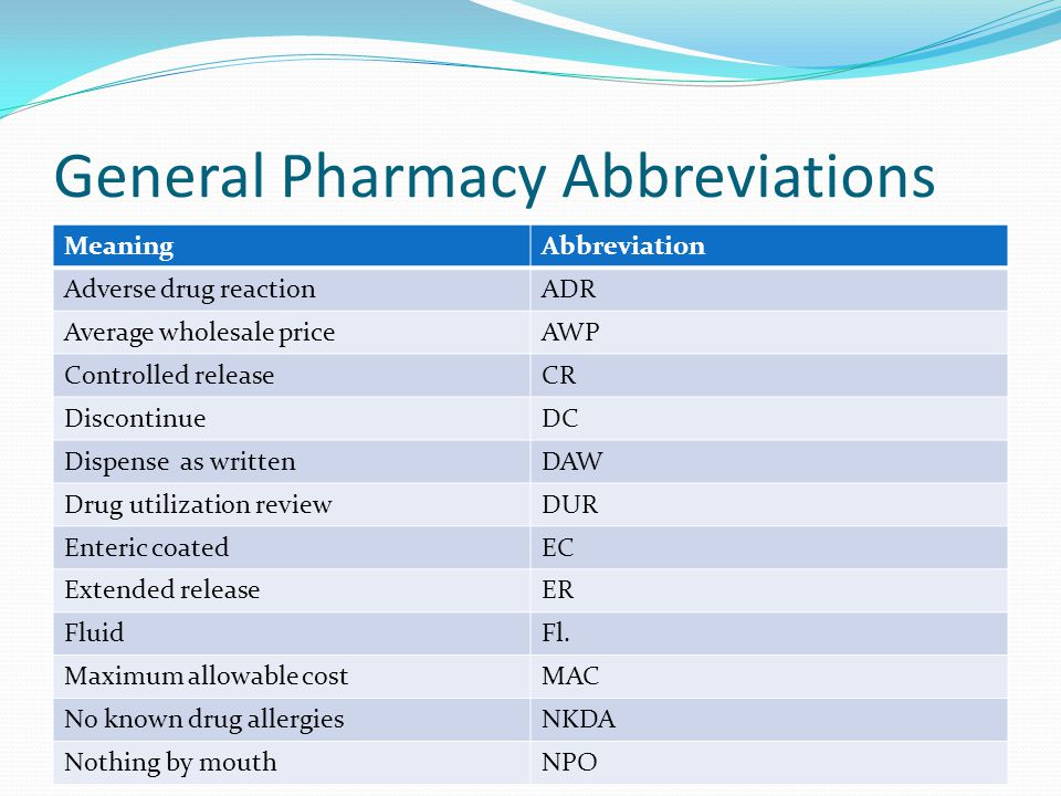General Pharmacy Abbreviations MeaningAbbreviation Adverse drug reactionADR Average wholesale priceAWP Controlled releaseCR DiscontinueDC Dispense as writtenDAW Drug utilization reviewDUR Enteric coatedEC Extended releaseER FluidFl.