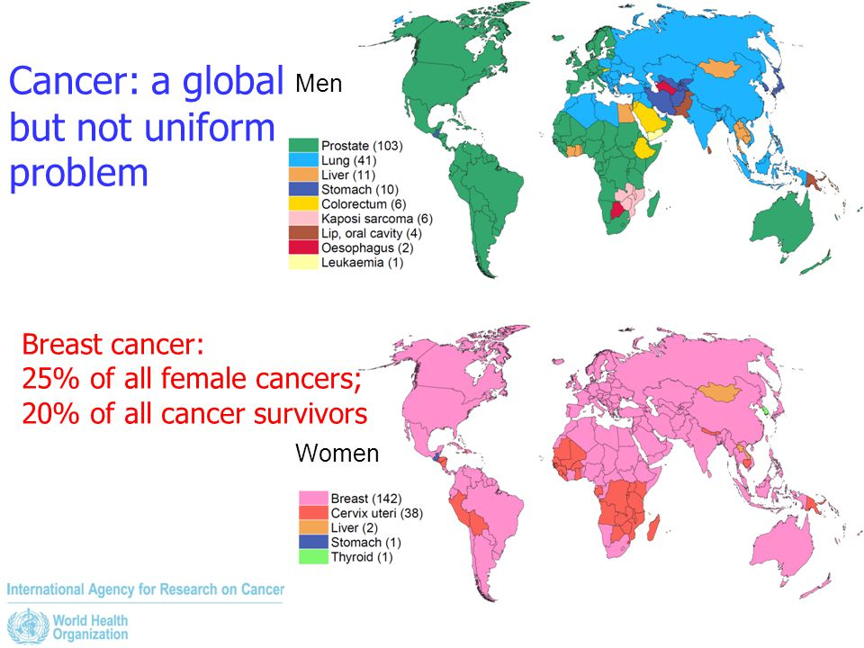 Cancer: a global but not uniform problem Men Women Breast cancer: 25% of all female cancers; 20% of all cancer survivors