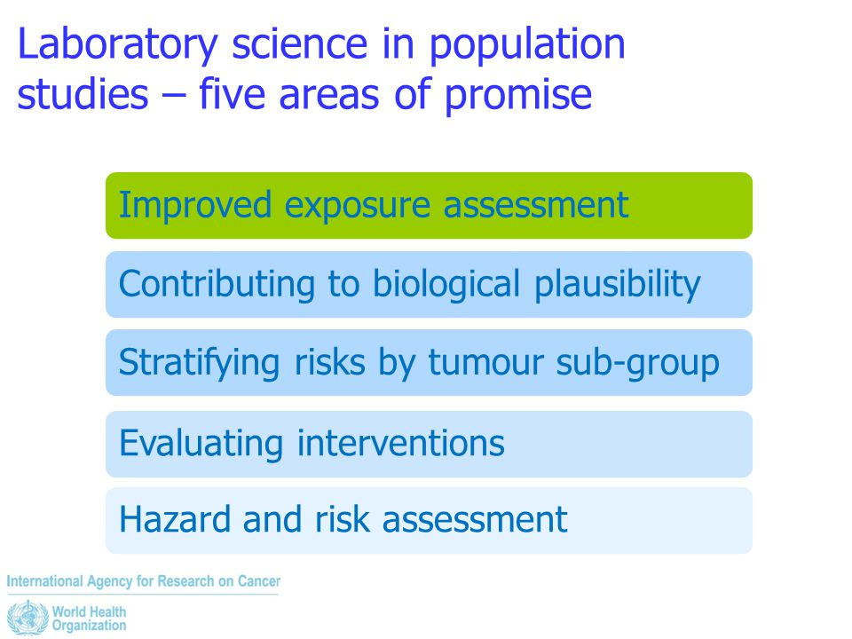 Laboratory science in population studies – five areas of promise Improved exposure assessmentContributing to biological plausibilityStratifying risks