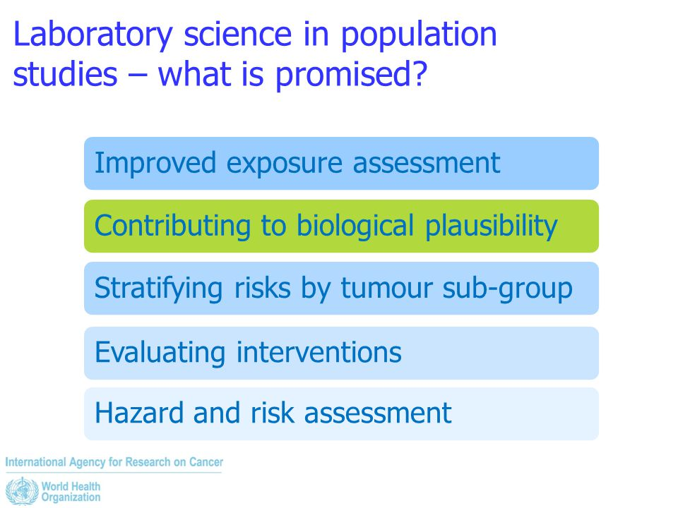 Laboratory science in population studies – what is promised? Improved exposure assessmentContributing to biological plausibilityStratifying risks by t